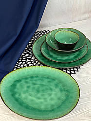 Керамічна тарілка зеленого кольору професійний посуд для кафе ресторанів і вдома 27х23 см