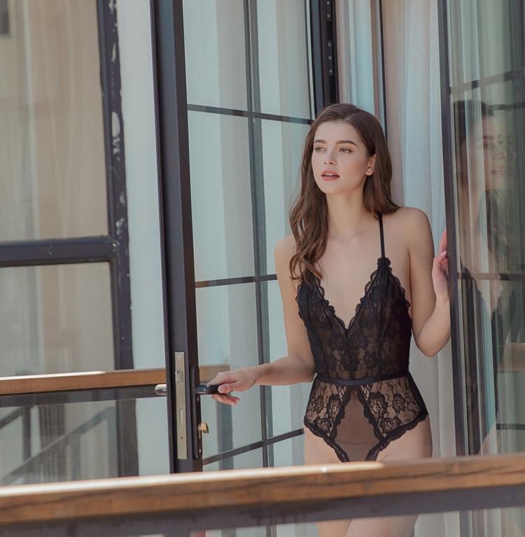 Сексуальное боди ЛЮКС качества прозрачное кружевное эротическое белье женское черное с кружевом