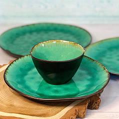 Посуд з кераміки піала зелена для кафе ресторанів і вдома 10х6,5 см