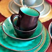 Керамическая кружка зеленого цвета профессиональная посуда для кафе ресторанов и дома 350 мл