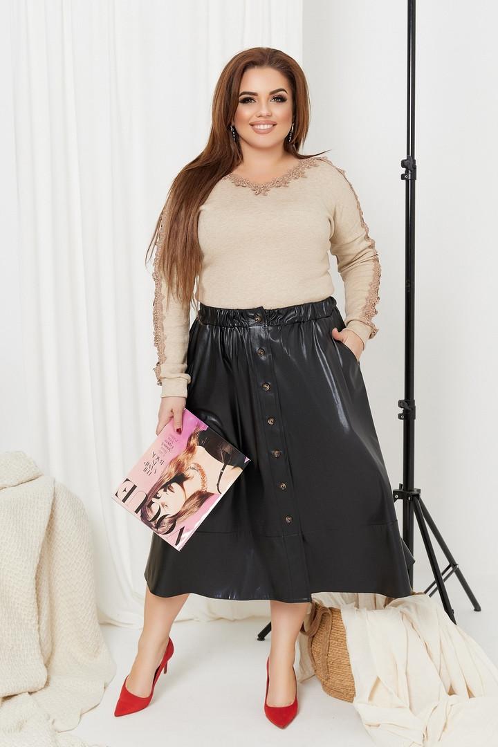 Женская кожаная юбка на пуговицах большого размера.Размеры:48/50,52/54,56/58+Цвета