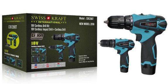 Набор шуруповертов Swiss Kraft International CB1280T 18V, фото 2