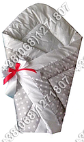 Зимний конверт на выписку Горошек серый, фото 3