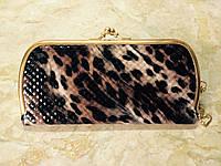 """Современный женский кошелек """"Поцелуй"""" длинный, коричневый леопард"""