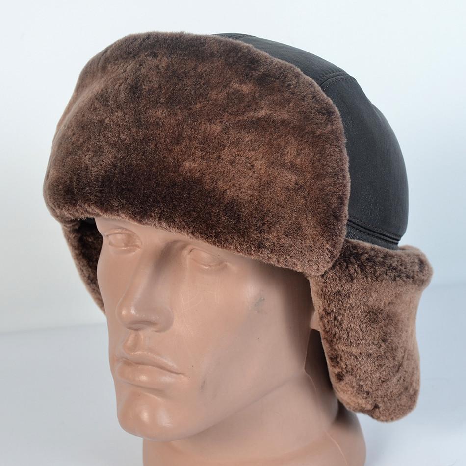 Мужская шапка-ушанка из натуральной кожи и овчины (код 29-307) - ИЗИДАмаркет в Хмельницком