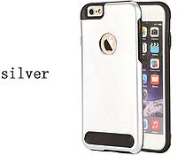 Бампер алюминиевый для iPhone 6 Plus - Motomo TPU Metal case (серебристый)