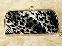 """Современный женский кошелек """"Поцелуй"""" длинный, серый леопард"""