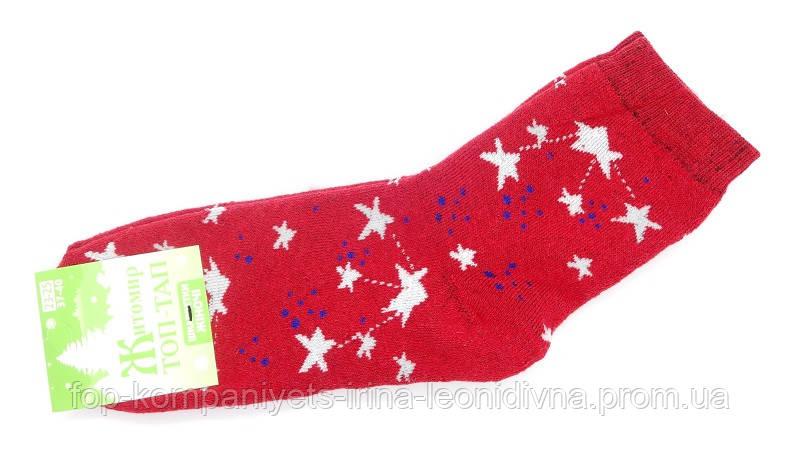 Носки женские (плюш) Звезды (23-25р) (12шт/уп) красный