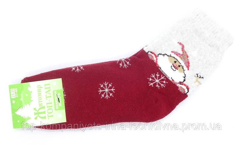 Носки женские (плюш) Санта с оленем (23-25р) (12шт/уп) бордовый