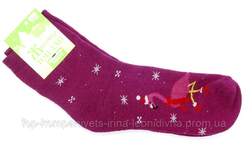 Носки женские (плюш) Фламинго (23-25р) (12шт/уп) розовый