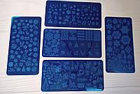 Новогодние пластины для стемпинга 5 штук - Наборы для стемпинга - Металлическая пластина для стемпинга