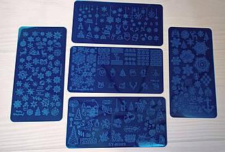 Новорічна пластина для стемпинга Сніжинки Олень Ялинка Сніговик Чобіток - Металева пластина для стемпинга