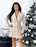 Платье- пиджак женское нарядное зелёный, пудра, белый, чёрный 42-44,46-48, фото 5