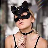 Маска кішечки + чокер нашийник з шипами, комплект. Портупея на обличчя Котячі вушка з екошкіри (чорний), фото 3