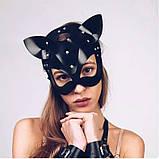 Маска кішечки + чокер нашийник з шипами, комплект. Портупея на обличчя Котячі вушка з екошкіри (чорний), фото 2