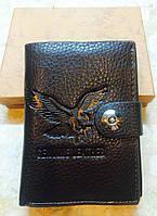 Многофункциональное мужское портмоне GENUINE LEATHER (паспорт, авто документы, доверенность) коричневый