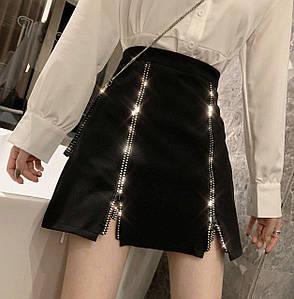 Женская юбка высокой посадки с молниями и стразами 42-46 р