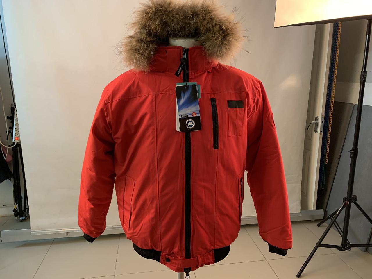 Зимний пуховик canada goose chilliwack bomber Канада Гус короткий мужской красного цвета
