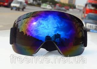 Лыжная маска безрамная, очки для сноуборда синие