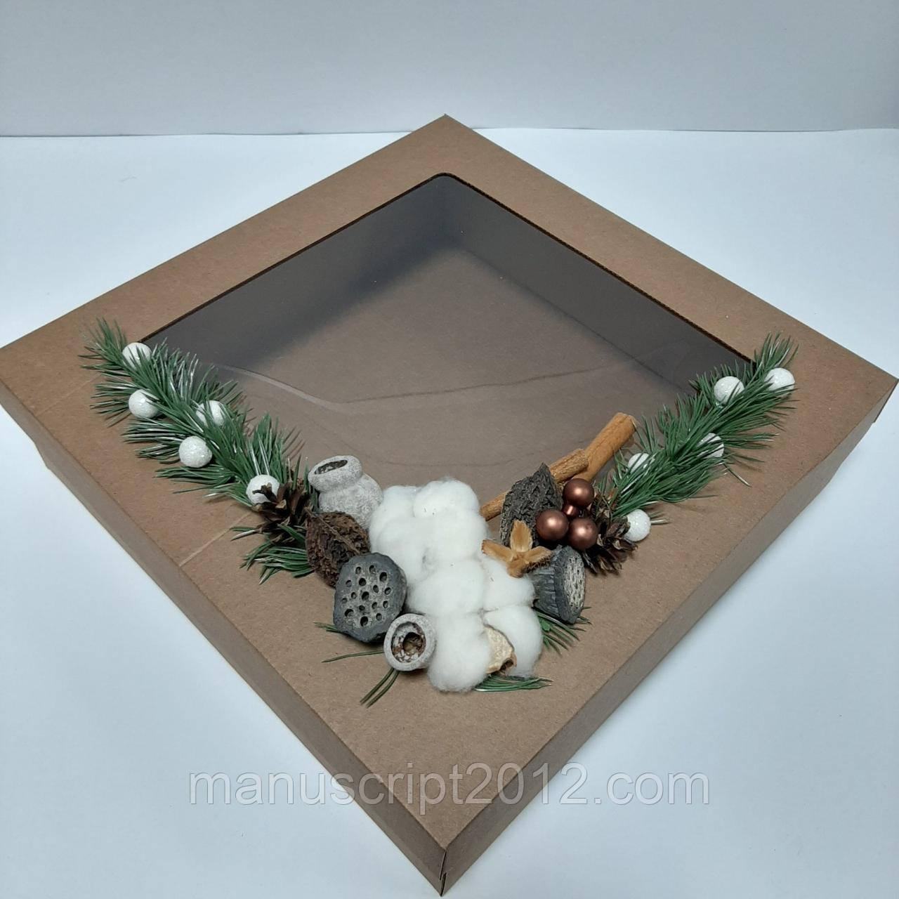 Новорічна коробка  з декором 360х360х100 мм.