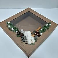 Новорічна коробка  з декором 360х360х100 мм., фото 1