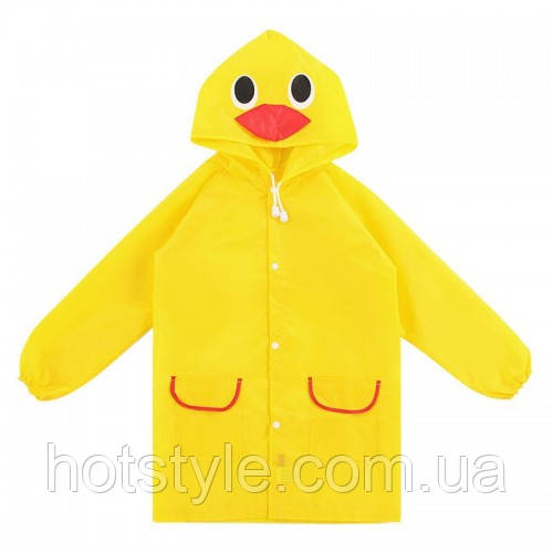 Детский дождевик Утенок, дождевой плащ для девочек мальчиков, ветро и водозащитный, HS00010