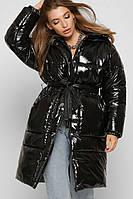 Женский длинный стеганый пуховик с поясом черный / Жіночий довгий пуховик з поясом чорний