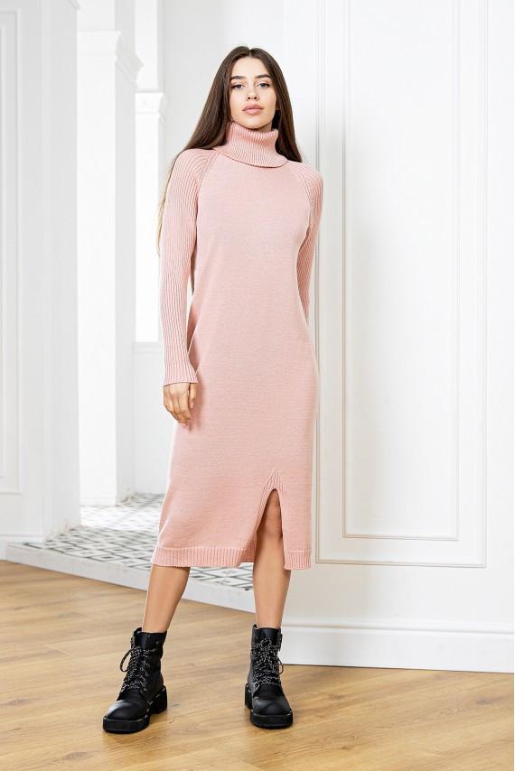 Модное вязаное молодежное платье с горлом Пудра 42-48 размер