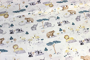 Ткань сатин Зоопарк акварель
