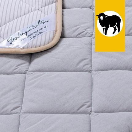 Одеяло с шерсти Мериноса Всесезонное Goodnight.Store 100х140 см (цвет серый / белый в полоску), фото 2