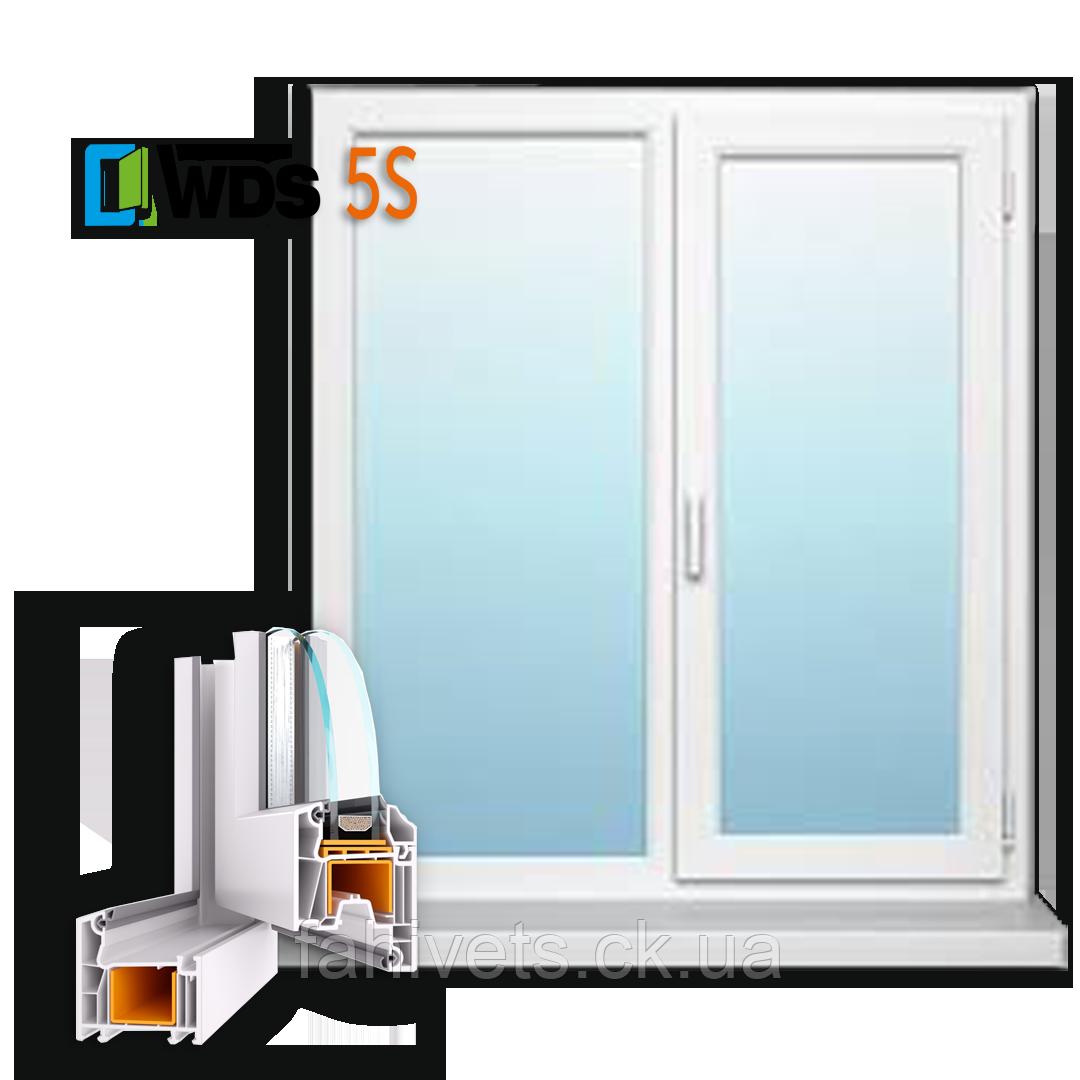 """Вікна типу """"Економ"""" з профілю WDS 5S, з двокамерний енергозберігаючим склопакетом, розміри (1300х1400)"""
