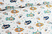 Ткань сатин Коты в подводных лодках, фото 1