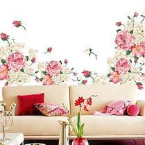 """Наклейка на стіну, вікна, дзеркала, шафи """"півонії рожево-білі"""" 90см*190см (2 аркуша 60*90см), фото 3"""
