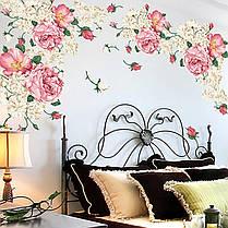 """Наклейка на стіну, вікна, дзеркала, шафи """"півонії рожево-білі"""" 90см*190см (2 аркуша 60*90см), фото 2"""