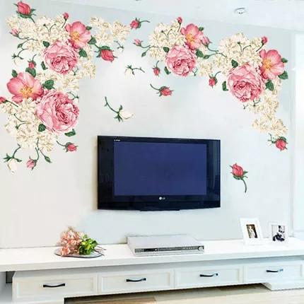 """Наклейка на стіну, вікна, дзеркала, шафи """"півонії рожево-білі"""" 90см*190см (2 аркуша 60*90см)"""