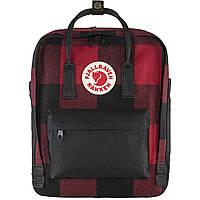 Рюкзак городской Fjallraven Kanken Re-Wool Red-Black, Оригинальный рюкзак Kanken 16 л, Фьялравен Канкен