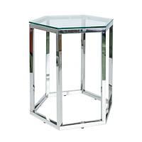 Шестиугольный стеклянный журнальный столик Signal Conti 42x48х51 см с хромом для гостиной в стиле модерн