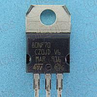 MOSFET N-канал 68В 98А 9.8мОм STM STP80NF70 TO220