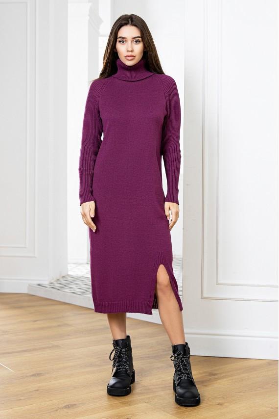 Модное вязаное молодежное платье с горлом Марсала 42-48 размер