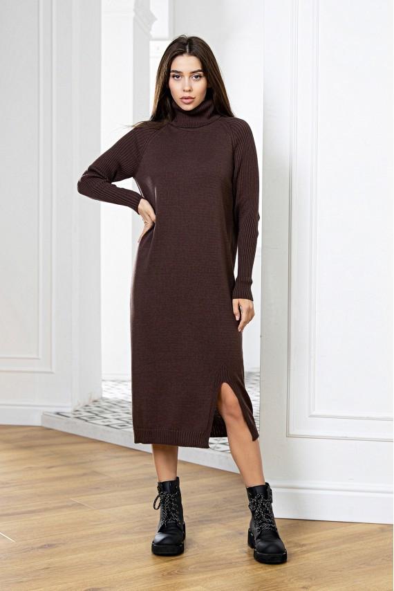 Модное вязаное молодежное платье с горлом Шоколад 42-48 размер