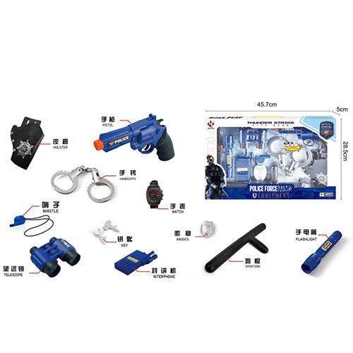 Набір поліцейського P002 пістолет, кобура,рація,наручники,ліхтарик-світло,бат.-таб.,кор.,45,5-28-5см