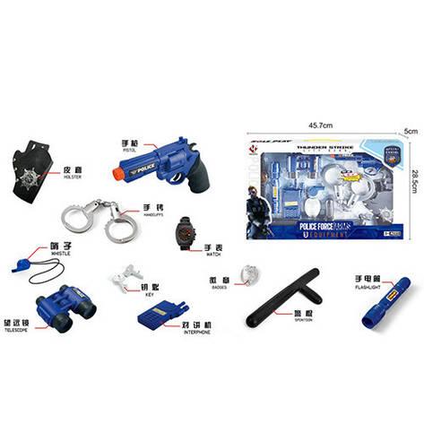 Набір поліцейського P002 пістолет, кобура,рація,наручники,ліхтарик-світло,бат.-таб.,кор.,45,5-28-5см, фото 2