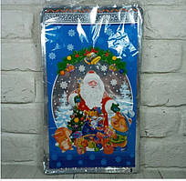 Новогодние пакеты для конфет и подарков (20*35) Снеговик на санях, 100 шт\пач