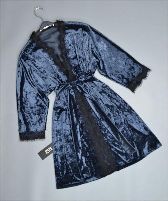 Халат женский Este велюровый с кружевом 304-темно-серый.