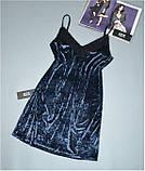 Ночная сорочка женская Este велюровая с хлопковым кружевом 302-графит., фото 3