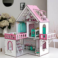 Кукольный домик МИНИ КОТТЕДЖ С БАЛКОНОМ для LOL розовый + мебель в Подарок!!!, фото 1