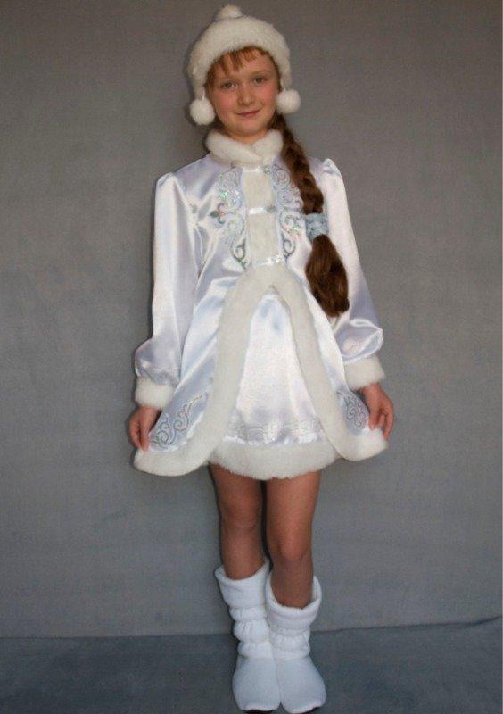 Детский карнавальный новогодний костюм Снегурочка 3/1 белый рост 125-140, возраст 9-10