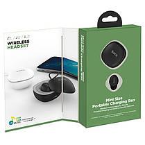 Bluetooth гарнитура Hoco E50 Wise mini wireless headset (с зарядным кейсом) Black, фото 3