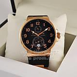 Ulysse Nardin Maxi Marine Chronometer 266-66-3/62 копия arabic numerals Black Gold механика Улис Нардин, фото 2