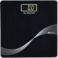 Весы напольные стеклянные (квадратные) на 180 кг Domotec MS-1604 Black (3272)